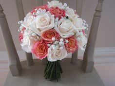 Miss Piggy Roses , cream Vendella roses , white babies breath , handtied bouquet . Wedding Bouquets, Wedding Flowers, Miss Piggy, Babies Breath, Roses, Cream, Decor, Creme Caramel, Decoration