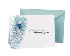 Amazon.com - Hortense B. Hewitt Wedding Accessories Thank You Note Cards, Peacock Feather, Pack of 50 - Wedding Party Invitations