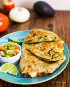 Quickie Cheeseless Quesadillas - I make this as a cold wrap all the time, but never thought to heat it.  Yum!