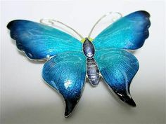 S..Large and Superb Sterling Silver Enamel Butterfly Brooch/Pin.