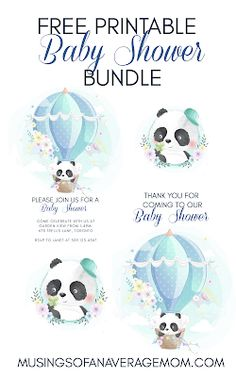 Free printable baby shower bundle includes editable or blank invitations, thank you notes, welcome sign and cupcake toppers.