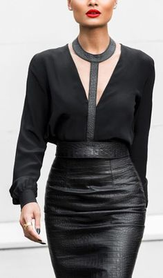 Edgy fashion | Leather collar belted skirt with black blouse