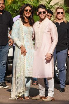They are due to tie the knot in a traditional Indian wedding this Saturday. And Priyanka Chopra and Nick Jonas were spotted in traditional Indian garb heading to a puja in Mumbai on Wednesday. Priyanka Chopra Wedding, Actress Priyanka Chopra, Bollywood Actress, Nick Jonas, Best Dressed Man, Indian Suits, Punjabi Suits, Indian Wear, Punjabi Dress