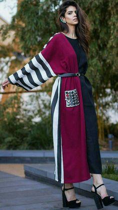 See more trends on www. Abaya Fashion, Kimono Fashion, Modest Fashion, Fashion Dresses, Iranian Women Fashion, Islamic Fashion, Cool Winter, Mode Abaya, Abaya Designs