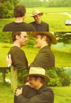 The first time Raylan and Boyd see each other after Raylan comes back.