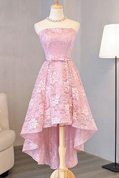 Hd70802 High Quality Homecoming Dress,Lace Homecoming Dress,Strapless Graduation Dress,High/Low Prom Dress