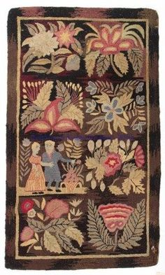 AMERICAN HOOKED SCATTER RUG, brown and mauve field, eight blocks comprising a man and woman in romantic setting, remaining with a floral bouquet/spray pattern. Fourth quarter century. 2 11 x 5 Vintage Hooks, Vintage Rugs, Vintage Paper, Scatter Rugs, Rug Hooking Patterns, Rug Patterns, Hand Hooked Rugs, Textiles, Braided Rugs