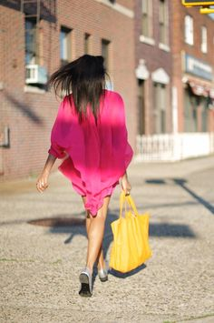 Summer brights, love the bag!                                  #pink #yellow #fashion