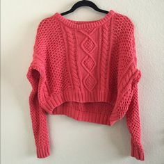 BDG cropped pink sweater! Super cute BDG cropped pink sweater. Super comfortable and in great condition. Originally bought from another posher! Offers welcome! Urban Outfitters Sweaters