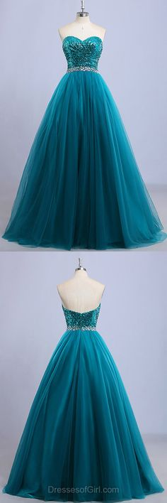 Tulle Prom Dresses, Sequined Prom Dress, Sweetheart Evening Dresses, Blue Party Dresses, Princess Formal Dresses