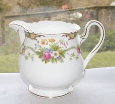 Shelley Fine Bone China England Dubarry Pattern Green Milk Jug c1950s