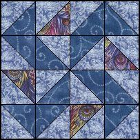 Yankee Puzzle quilt block--Quilts To Be Stitched - Four patch quilt patterns Half Square Triangle Quilts Pattern, Quilt Square Patterns, Beginner Quilt Patterns, Mug Rug Patterns, Quilt Patterns Free, Square Quilt, Barn Quilt Designs, Quilting Designs, Small Quilts
