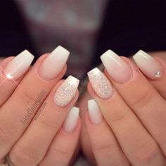 30 Pretty Nails Designs for Weddings or Special Occasions - Bridal nails - Nageldesign Pretty Nail Colors, Pretty Nail Designs, Pretty Nails, Nail Art Designs, Gorgeous Nails, Homecoming Nails, Prom Nails, Nails 2018, French Nails