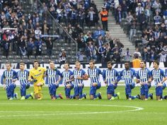"""Germany Bundesliga Soccer Club Hertha BSC Berlin playes kneel down prior to Bundesliga soccer match (Saturday, Oct. 14th, 2017); On Twitter, The Bundesliga Club says, """"Hertha BSC stands for tolerance and responsibility! For a tolerant Berlin and an open-minded world, now and forevermore!"""""""