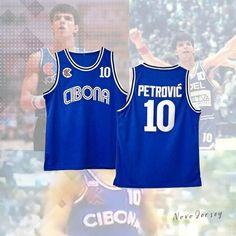 Drazen Petrovic  10 Cibona Croatia 1986 Basketball Blue Jersey d7ebcae29