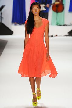 Nanette Lepore Spring 2012. So pretty. Love the yellow shoes w/ the orange dress.