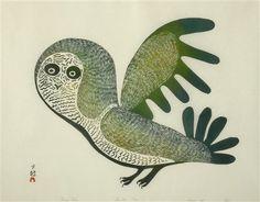 Lucy's owl, 1969 by Canadian Inuit artist Lucy Qinnuayuak Owl Art, Bird Art, Owl Eyes, Inuit Art, Indigenous Art, Native American Art, Tribal Art, Unique Art, Pet Birds