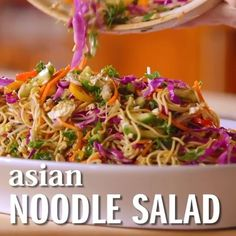 Bring @ThePioneerWoman's fresh and flavorful Asian Noodle Salad to your next picnic! She combines tons of veggies with a soy sauce and ginger dressing that will really pack a punch. And did we mention how colorful it is? [Link in bio]