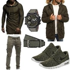 Many outfits of every season for trend-conscious men. Big Men Fashion, Winter Fashion, Mode Hipster, Mode Man, Style Masculin, Casual Outfits, Men Casual, Herren Outfit, Mens Gear