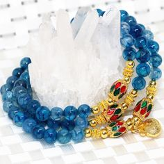 Gold-color spacer bohemia style natural blue popcorn women multilayer bracelets round agate beads 6mm long elastic jewels B2211