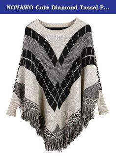 NOVAWO Cute Diamond Tassel Poncho Cape Shawls Batwing Sweater Cloak with Sleeves. Ponchos are the hottest trend out in the fashion world. With the cold seasons coming up, be prepared with this adorable stylish poncho sweater. Unlike a regular poncho that can still be cold, this is actually a sweater with arms that will keep your body warm and cozy! The prints and trim will add character to this unique sweater. Pair it with leggings, jeans, or even a cute skirt! .