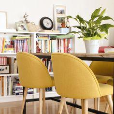 Chaise vintage jaune et bouleau massif | Maisons du Monde