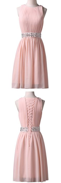 2016 homecoming dress,pink homecoming dress,chiffon homecoming dress,knee length homecoming dress,elegant homecoming dress,