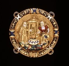 1530-1540. Hat Badge; gold; circular medallion with enamelled frame and enamelled applied relief with Christ and the woman of Samaria at Jacob's well; there are four enamelled loops attached to the back-plate; the enamel is red, green, blue and opaque white.