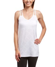 Stark White Perforated No Limit Racerback Tank