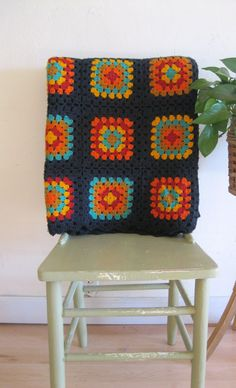 vintage crochet granny square blanket afghan navy orange blue brown
