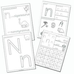 Free printable letter n worksheets with dinosaurs Letter I Worksheet, Letter Flashcards, Printable Letters, Printable Worksheets, Free Printables, Learning Phonics, Learning The Alphabet, Letter N Activities, Starting School