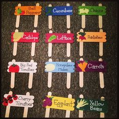 DIY - Popsicle stick plant markers. These are so cute & cheap. Going to do this for my flowers since I don't grow veggies.
