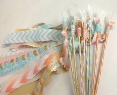 12 Boho Tribal Feather Wands, Eclectic Wedding Favors, Fabric Streamer Wands, Birthday Party Decor, Photo Prop by AlteredEcoDesigns on Etsy
