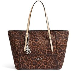 GUESS Delaney Leopard-Print Small Classic Tote ($70) found on Polyvore featuring bags, handbags, tote bags, natural leopard, guess handbags, leather tote, faux leather tote, faux snakeskin handbag and faux leather purse