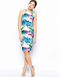 Image 4 ofAX Paris Midi Dress in Tropical Print
