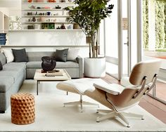 Eames Lounge and Ottoman, White Ash
