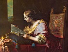 'St. Cathrine reading a book', Oil by Carlo Dolci (1616-1686, Italy)