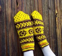 hand knitted yellow brown wool mittens by peonijahandmadeshop, $44.00