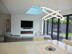 Check out the tour of this stylish, open plan, contemporary extensions. Open Plan Kitchen Dining Living, Open Plan Kitchen Diner, Open Plan Living, Kitchen Island, Kitchen Seating, Open Kitchen, Kitchen Cabinets, Dining Room, House Extension Plans