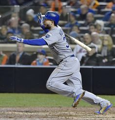 Kansas City Royals first baseman Eric Hosmer hits an RBI single in the eighth inning during game four of the World Series on Saturday, October 31, 2015 at Citi Field in New York.