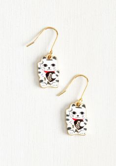Neck and Neko Earrings. There are tons of cute accessories out there, but these golden earrings take the top prize for being the best adornment around! #white #modcloth
