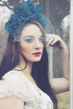 WIND BRIDE / Teal flower crown / kokoshnik with embellished veil - OOAK - Ready…