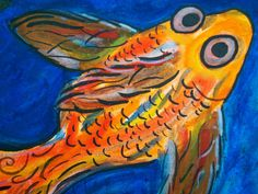 Bright and Happy Abstract Goldfish by CuriositycreatedKat on Etsy, SOLD
