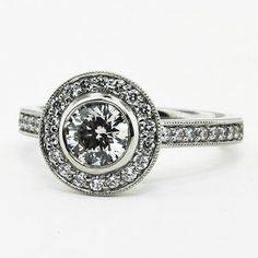 Round Bezel Halo Diamond Ring with Side Stones (1/3 ct.tw.)  #BrilliantEarth