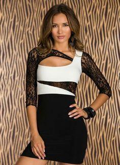 Irregular neckline lace print nightclub dress