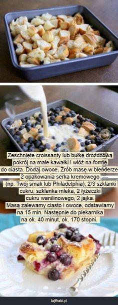 Sposób na szybkie ciasto - Zeschnięte croissanty lub bułkę drożdżową pokrój na małe kawałki i włóż na formę do ciasta. Dodaj owoce. Zrób masę w blenderze. 2 opakowania serka kremowego  (np. Twój smak lub Philadelphia), 2/3 szklanki cukru, szklanka mleka, 2 łyżeczki cukru wanilinowego, 2 jajka. Masą zalewamy ciasto i owoce, odstawiamy na 15 min. Następnie do piekarnika na ok. 40 minut, ok. 170 stopni.