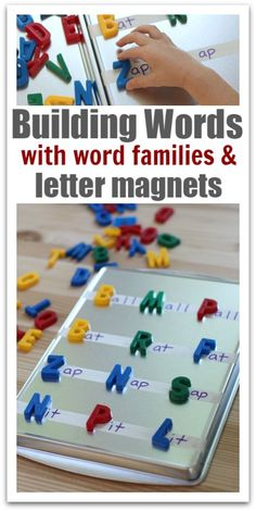 Word Building With Letter Magnets & Word Families Help your kids learn spelling words and more with this fun idea! Easy set up! Word building with letter magnets and word families. Word Family Activities, Alphabet Activities, Literacy Activities, Activities For Kids, Literacy Centers, Teaching Resources, Literacy Stations, Indoor Activities, Word Families