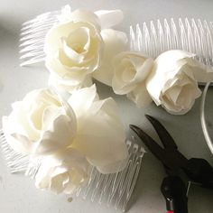 Beautiful Silk flowers in progress perfect for any bride. Hair Accessories by Tara M Designs Tara M, Silk Flowers, Fiber Art, My Design, Hair Accessories, Bride, Prints, How To Make, Beautiful