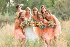 peach wedding party looks