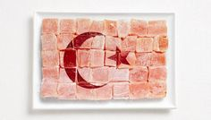 National Flags Made From Food  TURKEY - Turkish Delights (Lokum)